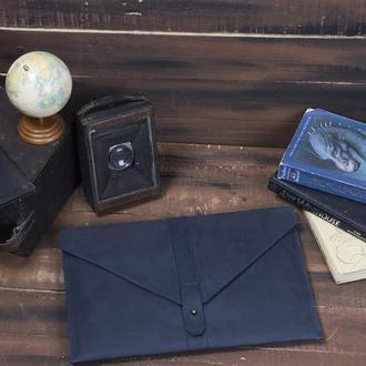 Кожаный синий чехол для Macbook на кобурной застежке