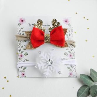 Новогодний набор повязок для девочки / Повязка снежинка / Бантик с рожками для малышки