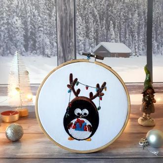 """Новогодний настенный декор """"Пингвин"""""""