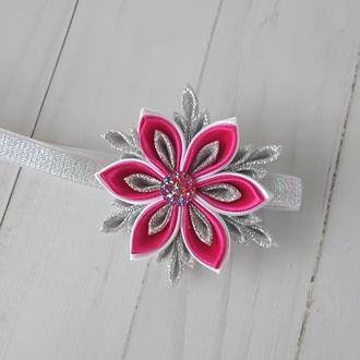 Розовая снежинка повязка для малышки Украшение на голову Подарок на Новый год девочке