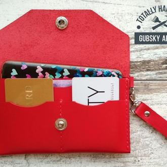 Красный чехол для телефона, красный кошелёк женский с отделами для кредиток