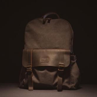 Городской классический рюкзак из канвы и натуральной кожи. Водоотталкивающий.