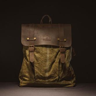Городской рюкзак Мария Ивановна. Водоотталкивающая конопля и натуральная кожа