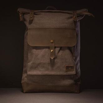 Рюкзак из канвы и натуральной кожи Лантух. Водооталкивающий. Серый