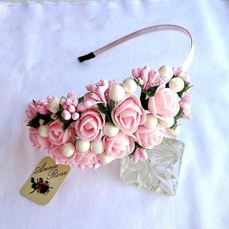 """Обруч для волос с цветами  """"Розовые Розочки"""""""