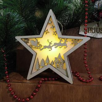 """Светильник-звездочка """"Санта і олені"""""""