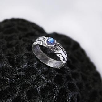 Мужское серебряное кольцо 'GLOW' | кольцо с Лабрадоритом |