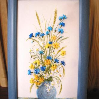 """Картина """"Полевые цветы"""", вышитая шелковыми лентами"""