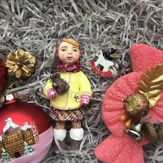 Куколка, ватная ёлочная игрушка