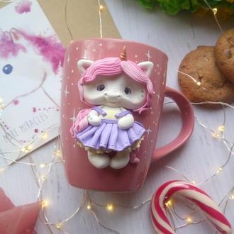 Чашка с декором Единорожка в юбке