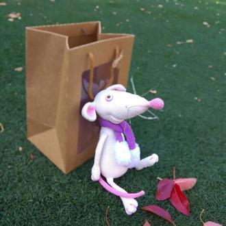 Мягкая игрушка крыса белая символ года
