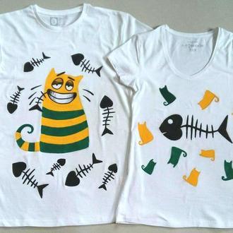 """Парные футболки для влюбленных """"Коты"""""""