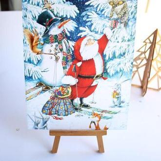 """Новогодняя открытка """"Санта дарит подарки"""""""
