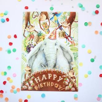 """Поздравительная открытка с иллюстрацией """"Happy Birthday"""""""