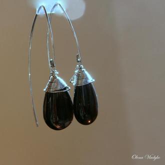 Серебряные серьги с дымчатым кварцем, серебряные сережки с камнями, подарок