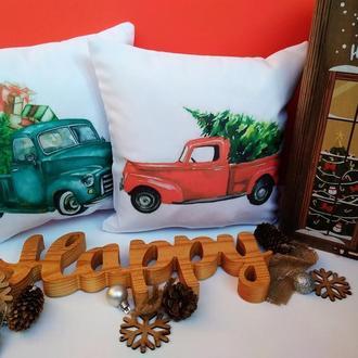 Новогодняя подушка, подушка машина с елкой, подушка олень Киев, подарок на новый год,  подушка мышь