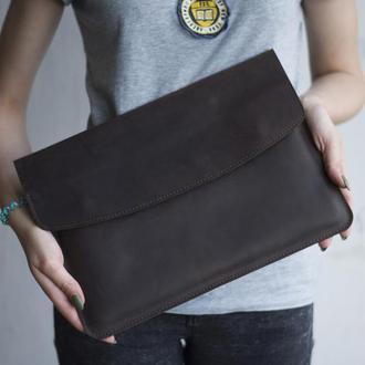 Кожаный чехол для Macbook на скрытых магнитных кнопках коричневый
