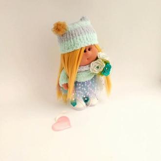 Кукла Тильда текстильная в бирюзовых оттенках