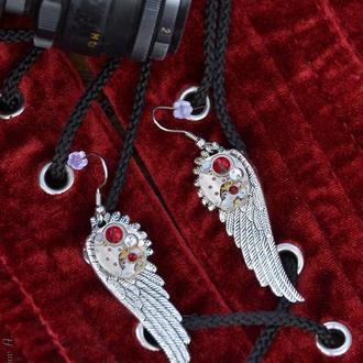 Серьги крылья с настоящими часовыми механизмами ( 1 пара в наличии)