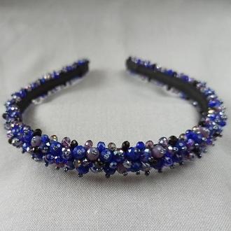 Синий хрустальный ободок для волос