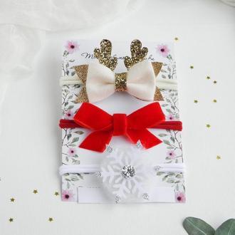 Набор красивых повязок для девочки / Повязки для малышки на праздник / Бархатный бантик повязка