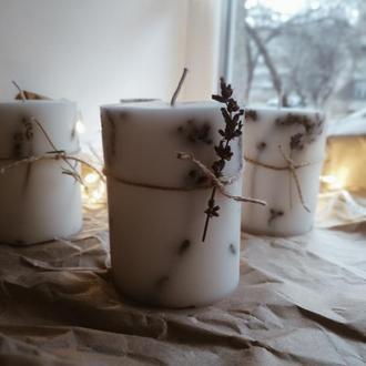 Натуральная свеча из соевого воска с лавандой, свеча