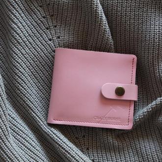 Портмоне из натуральной кожи с монетницей и застежкой 006_Pink