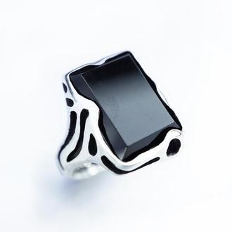 Женское кольцо 'HITAM' | Женское кольцо из серебра | Кольцо с черным ониксом
