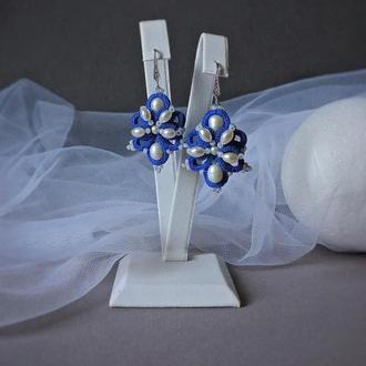 Кружевные серьги фриволите malena с жемчугом, Синие серьги