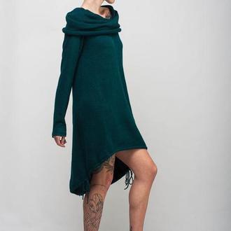 Зеленое вязаое шерстяное ассиметричное платье-рыбка