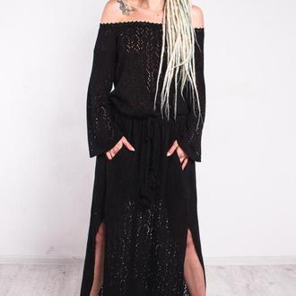 Черное вязаное вечернее макси платье с разрезами и карманами