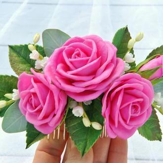 Гребень для волос с малиновыми розами Свадебное украшение в волосы с цветами