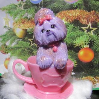 Сувенирное мыло собачка в чашке подарок