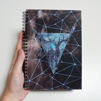 Блокнот А5 с черными страницами и белая ручка. Авторская иллюстрация Олень. 90 листов.