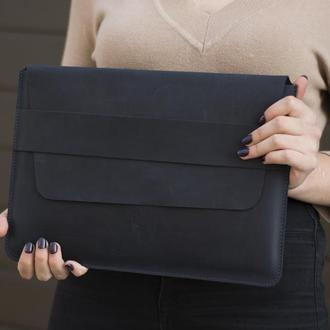 Кожаный синий чехол для ноутбука ручной работы