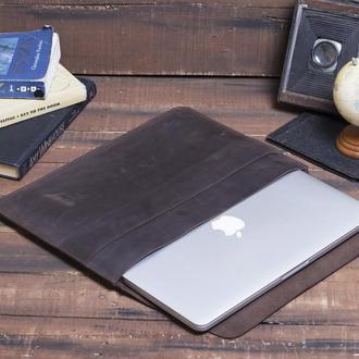Кожаный чехол для ноутбука ручной работы коричневый