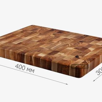 Торцевая разделочная доска L+мин. масло. Размер - 400х300х42 мм. Ясень