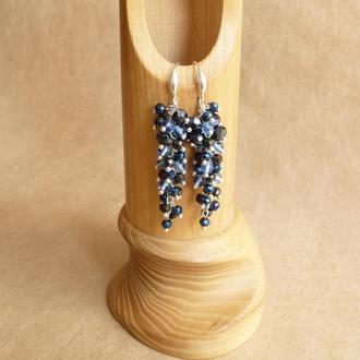 Синие серьги, вечерние серьги, новогодние серьги, серьги грозди, серьги под вечернее платье
