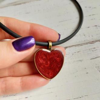 Кулон Красное сердце