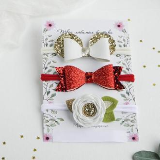 Повязки для малышки / Набор красивых повязок для девочки / Подарок девочке на год