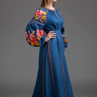 """Дизайнерська вишита сукня Folk Fashion с клинами """"Три троянди"""" Осень 00123"""