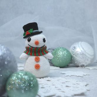 Вязаная игрушка Снеговик, мягкая игрушка для ребенка, подарок на Новый год