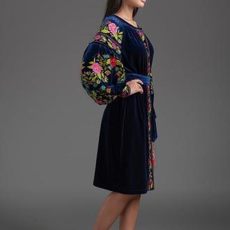 """Вишита оксамитова сукня Folk Fashion """"Магія квітів"""" 00125"""