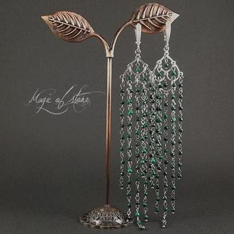 Серьги из малахита и серебра 925 пр.
