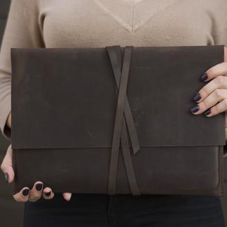Кожаный коричневый чехол  для ноутбука