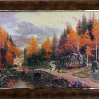 Частичная вышивка. Осенний пейзаж. Американский дизайн