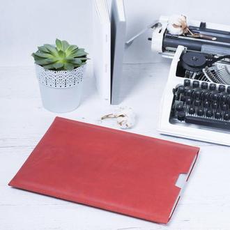 Компактный красный чехол для Macbook из натуральной кожи