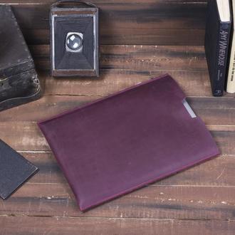 Компактный чехол для Macbook из натуральной кожи бордовый