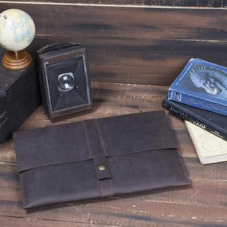Кожаный чехол для Macbook на кнопке коричневый