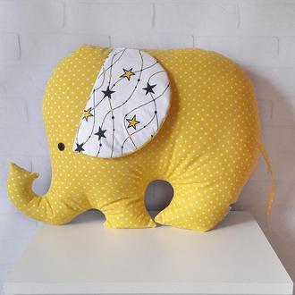 "Подушка-игрушка в форме слона, слоник-подушка ""желтые звезды"""